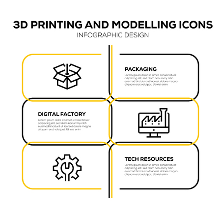 3D PRINTING AND MODELLING ICON SET Vetores