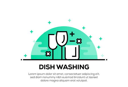 DISH WASHING ICON CONCEPT 矢量图像