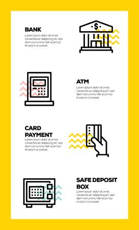 BANKING AND FINANCE LINE ICON CONCEPT Ilustração