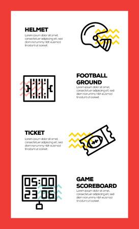 AMERICAN FOOTBALL LINE ICON CONCEPT Stock Illustratie