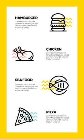 FOOD AND DRINK LINE ICON CONCEPT Ilustração