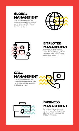 BUSINESS MANAGEMENT LINE ICON CONCEPT