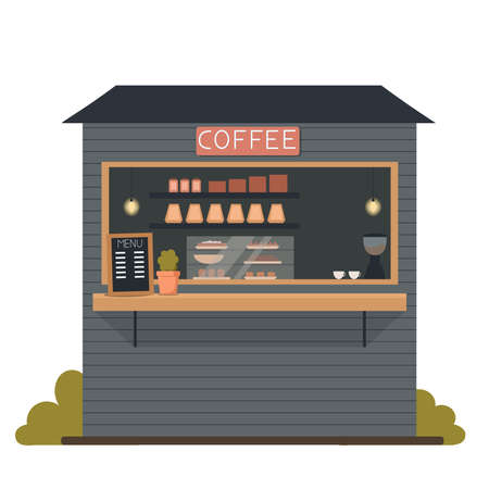 Coffee shop on the street.Coffee shop window. Flat vector illustration on a white isolated background