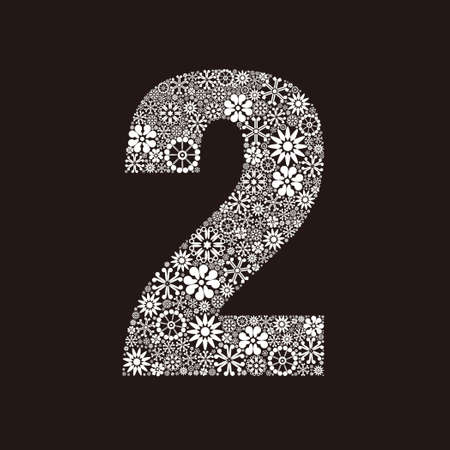 Arabic numeral 2 made of flowers design