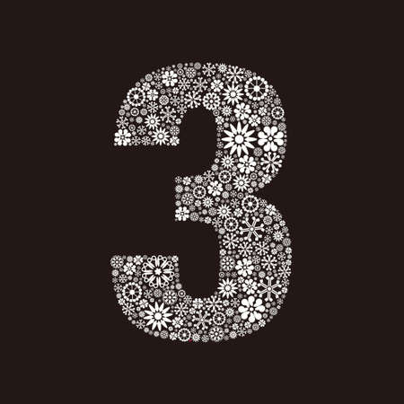 Arabic numeral 3 made of flowers design  イラスト・ベクター素材
