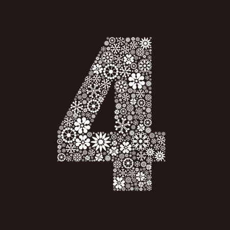 Arabic numeral 4 made of flowers design  イラスト・ベクター素材
