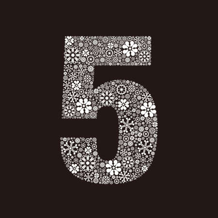 Arabic numeral 5 made of flowers design