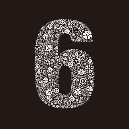 Arabic numeral 6 made of flowers design