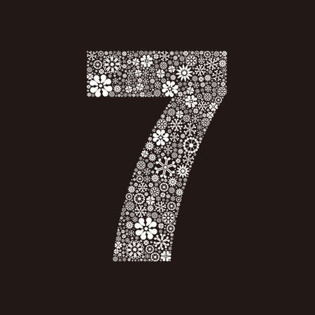 Arabic numeral 7 made of flowers design