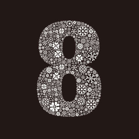 Arabic numeral 8 made of flowers design