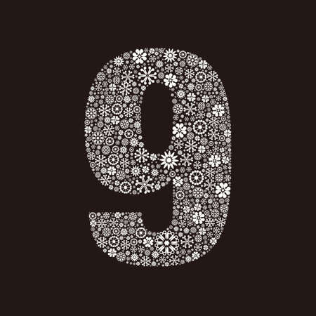 Arabic numeral 9 made of flowers design  イラスト・ベクター素材