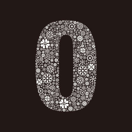 Arabic numeral 0 made of flowers design