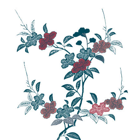 Camellia on white background  イラスト・ベクター素材