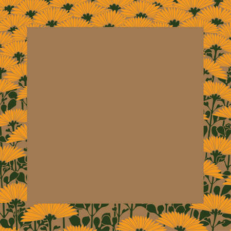 Brown background with floral border  イラスト・ベクター素材