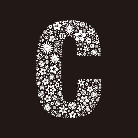 Letter C made of flowers design