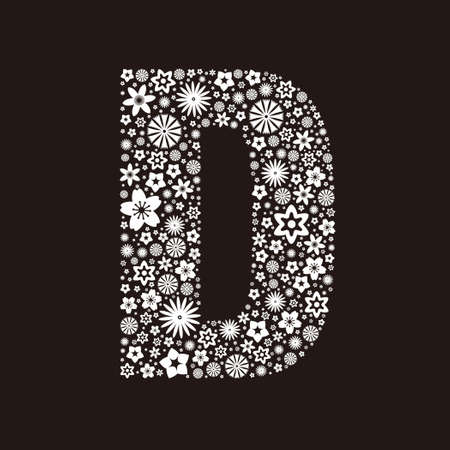 Letter D  made of flowers design  イラスト・ベクター素材