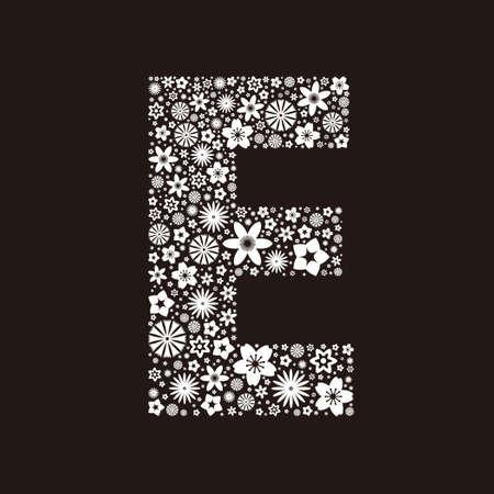 Letter E  made of flowers design