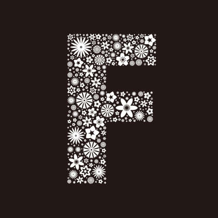 Letter F  made of flowers design  イラスト・ベクター素材