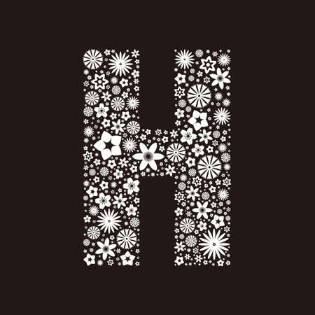 Letter H  made of flowers design  イラスト・ベクター素材