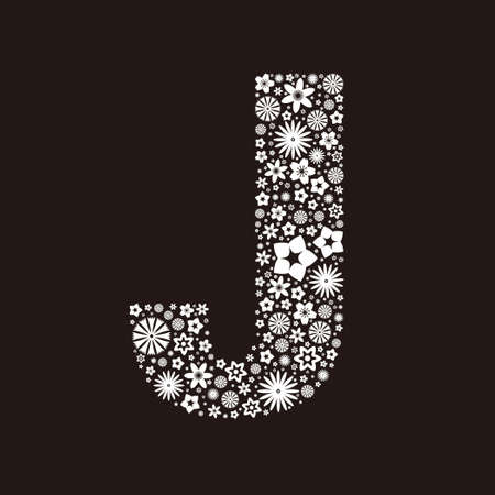 Letter J  made of flowers design  イラスト・ベクター素材