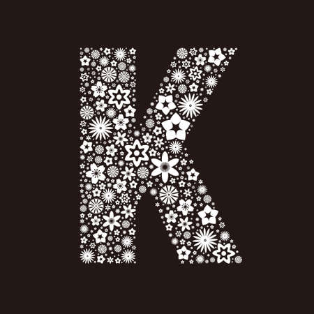 Letter K made of flowers design  イラスト・ベクター素材