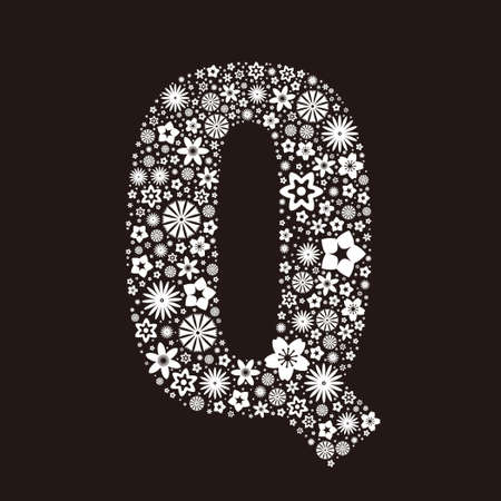 Letter Q  made of flowers design