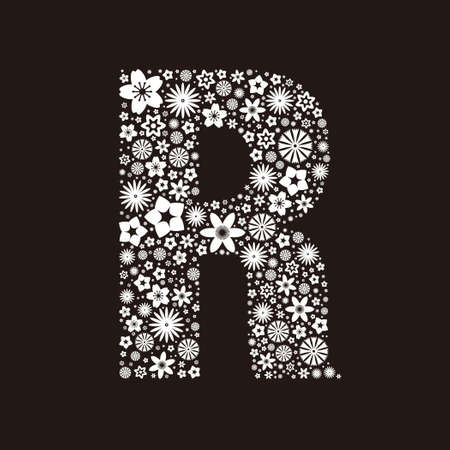 Letter R  made of flowers design