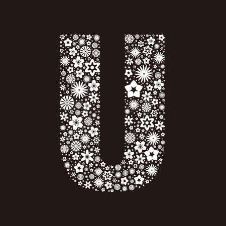 Letter U  made of flowers design