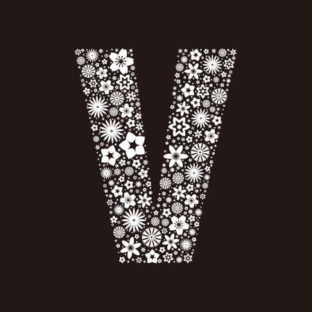 Letter V  made of flowers design  イラスト・ベクター素材