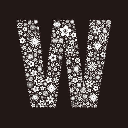 Letter W  made of flowers design