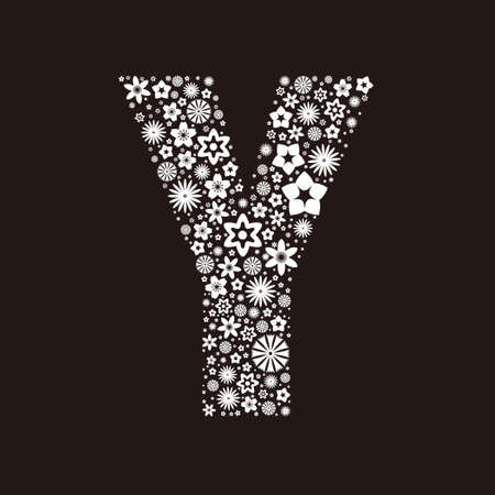 Letter Y  made of flowers design