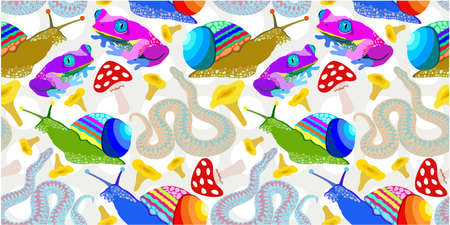 Vector seamless pattern with colorful frogs, snails, snakes and mushrooms. Vektorgrafik