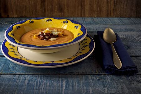 Cordovan salmorejo, is a tomato cream served cold, is a typical Spanish dish in summer