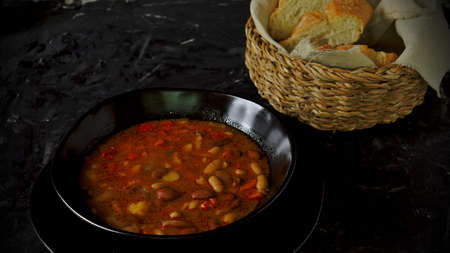 stewed beans without meat only vegetables, healthy and vegetarian