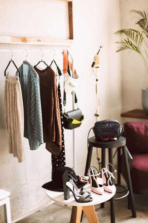 Close up beautiful interior of modern fashion showroom Foto de archivo