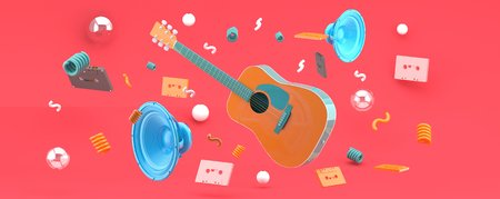 An orange guitar and blue speakers amid balls and tape on a pink backdrop.-3d render.