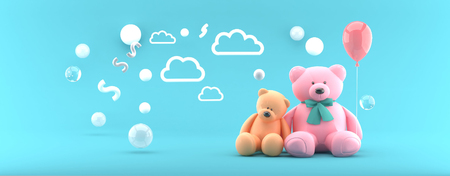 Teddy Bear Orange and Pink and Balloon on Blue Sky.-3d render.