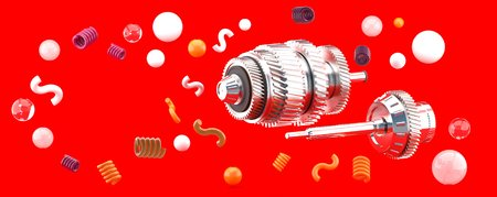 The machine is floating on a red background.-3d render.