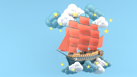 Blue Ship With orange sails Floating in the clouds and stars on the blue background.-3d render.