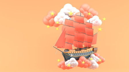 Blue Ship With orange sails Floating in the clouds and stars on the orange background.-3d render.