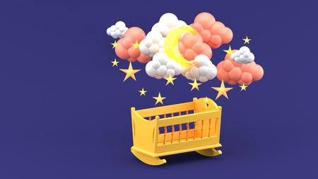 Orange baby cradle Under Clouds, moon and Stars on Purple Background.-3d render.