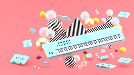 Blue piano keyboard and blue tape amidst colorful balls on a pink background.-3d render.