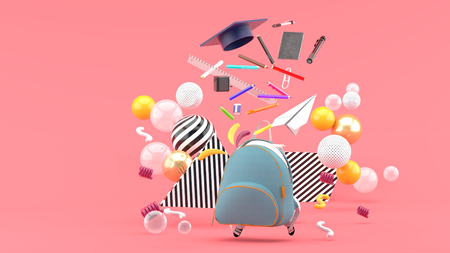 School Supplies Floating out of a school bag amidst colorful balls on a pink background.-3d render.