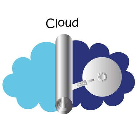 almacenamiento de datos de nube Ilustración de vector