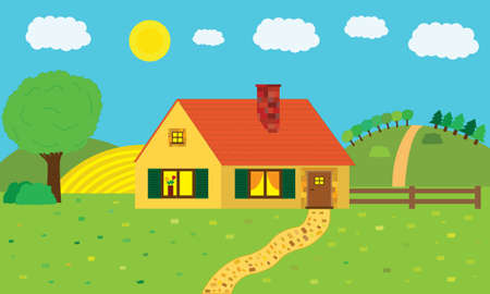 home in summer Illustration