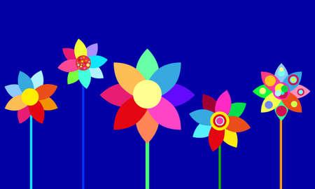 fascinação: vector flores coloridas Ilustração