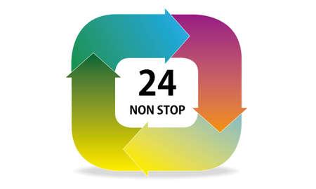 24 non stop tag Vector