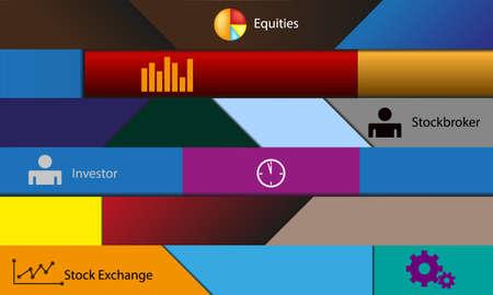 equities: illustration theme stock exchange Illustration