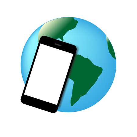 mobil phone: mobil phone world vector illustration Illustration