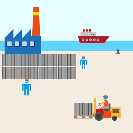 harbour: barca di fabbricazione porto vettoriale